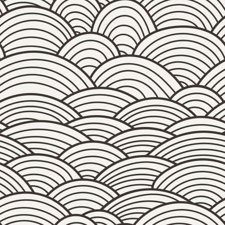 Vector seamless background of overlapping striped circles