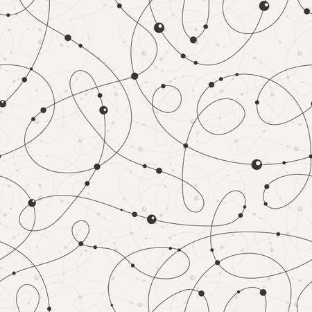 bead embroidery: Vector seamless pattern of contrasting swirling lines strung with beads