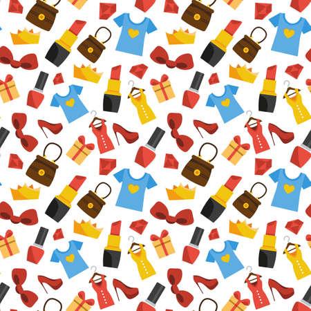 Vector seamless pattern of women's stuff. Shopping Vectores