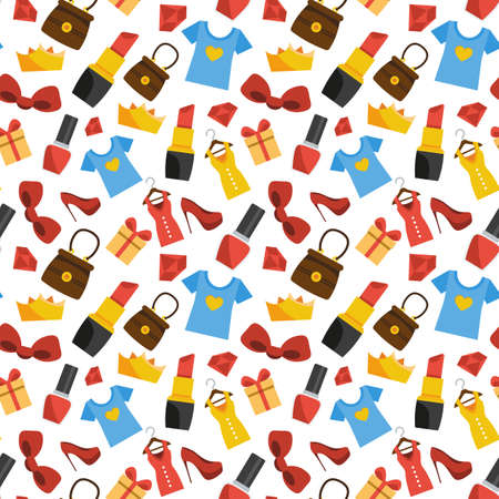 Vector seamless pattern of women's stuff. Shopping Illustration