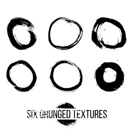 Set of six grunged circles by painbrush and ink