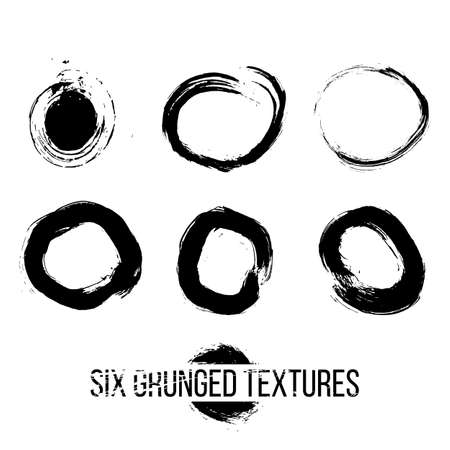 grunged: Set of six grunged circles by painbrush and ink