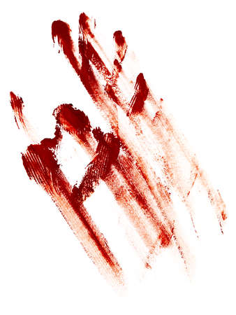 greased: Raster greased hand imprint of red gouache