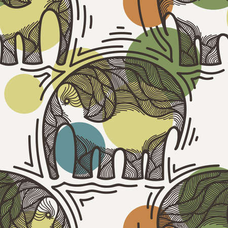 crooked: Vector seamless pattern with elephants crooked line on the background of colored spots