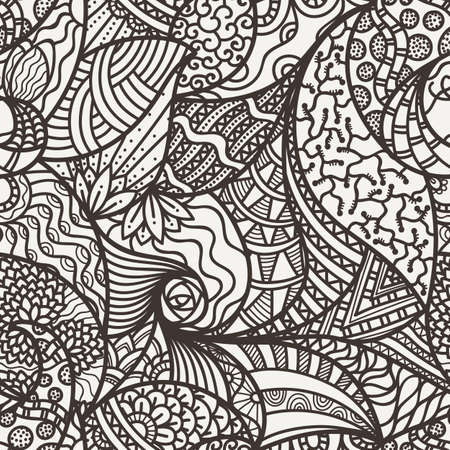 luxuriate: Vector seamless abstract pattern of leaves, flowers, waves, lines and hair. In one piece of butterfly sitting