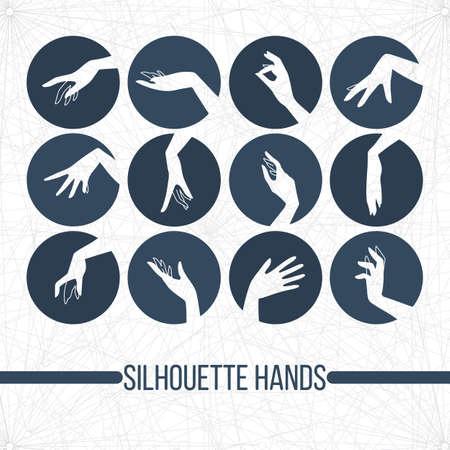 제스처: 다른 제스처에 우아한 여성의 손을 표시하는 벡터 실루엣 아이콘의 집합