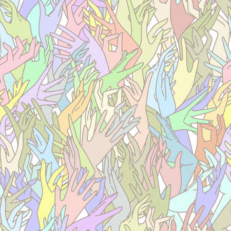 endlessly: Vector seamless pattern of graceful female hands bound in pastel colors