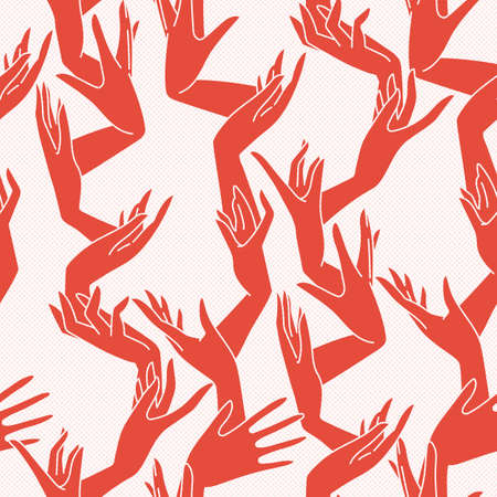 woman arms up: Vector seamless pattern of graceful female hands bound similar to coral branches