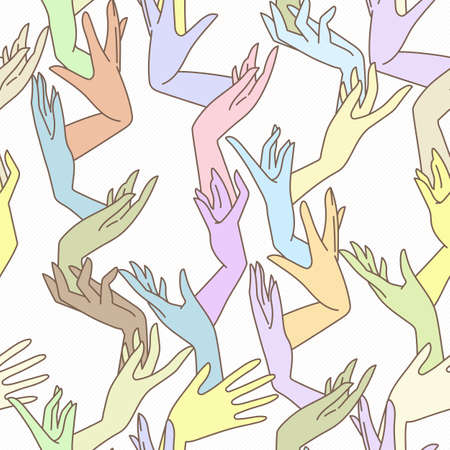fondle: Vector seamless pattern of graceful female hands bound in pastel colors