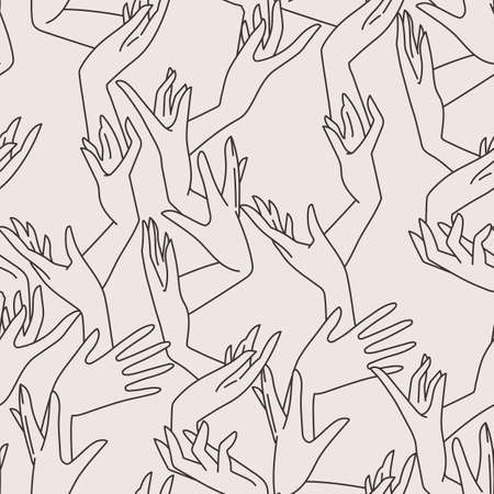 endlessly: Vector seamless pattern of contrasting graceful female hands intertwined