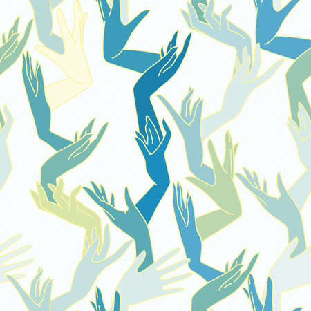 fondle: Vector seamless pattern of graceful female hands intertwined yellow green and blue colors Illustration