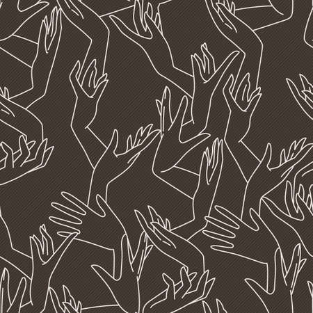fondle: Vector seamless pattern of contrasting graceful female hands intertwined