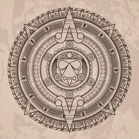 aztec calendar: Vector circular pattern in the style of the Aztec calendar stone on a grunged background