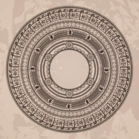antiquities: Vector circular pattern in the style of the Aztec calendar stone on a grunged background