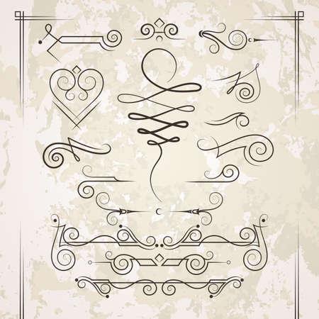 dibujos lineales: Vector conjunto de rizos elegantes y remolinos. Elementos para el diseño