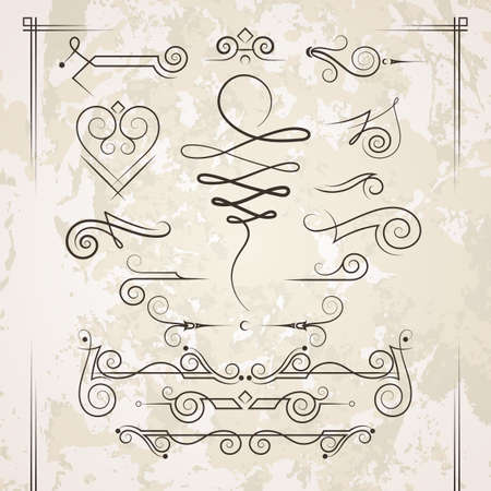 Vector set of elegant curls and swirls. Elements for design Çizim