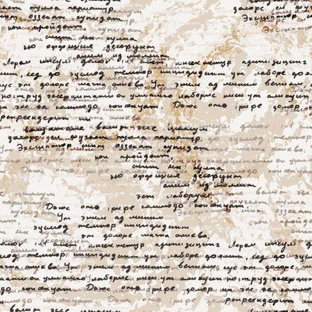 Vector seamless con un testo latino scritto a mano sulla vecchia carta sporca. Lorem Ipsum