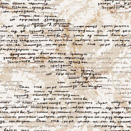 old pen: Vector seamless pattern with a hand-written Latin text on the old dirty paper. Lorem Ipsum