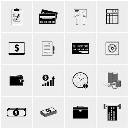 advances: Black and white vector set of minimalist icons