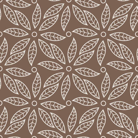Vector seamless pattern with leaves and petals