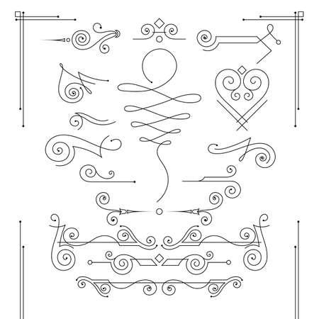 Vector set of elegant curls and swirls. Elements for design Ilustração