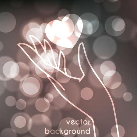 the human heart: Foto borrosa textura con efecto bokeh y la mano estilizada en un gesto agraciado con corazones brillantes