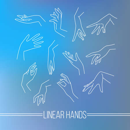 Conjunto de iconos del vector de mapeo lineal manos elegantes mujeres en diferentes gestos