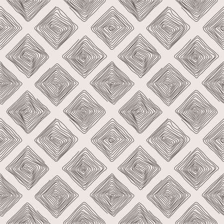 Vector seamless pattern of the curve scrolling lines drawn in the form of geometric shapes