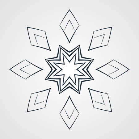 motivos navideños: Vector monochrome flower mandala on a contrasting background. Big snowflake