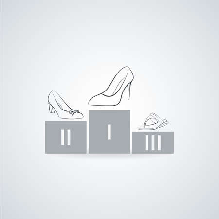 pedestal: Womens shoes on a pedestal. Flat icon Illustration