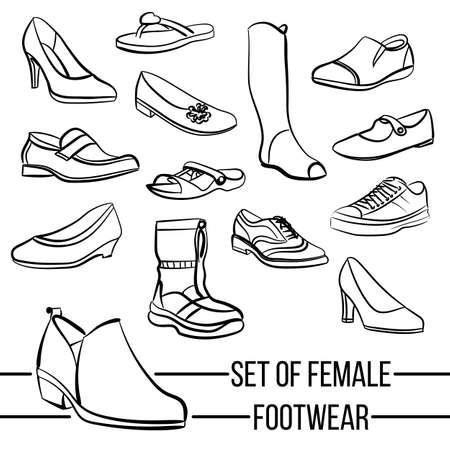 footwear: Set of vector drawn womens footwear lines in minimalist style Illustration