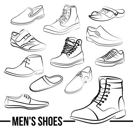 Vector set of mens shoes painted lines in minimalist style Ilustração