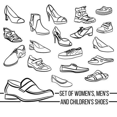 Mujeres, hombres y zapatos para niños líneas pintadas vector Conjunto en estilo minimalista Ilustración de vector