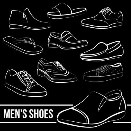 minimalist style: Vector set of mens shoes painted lines in minimalist style Illustration