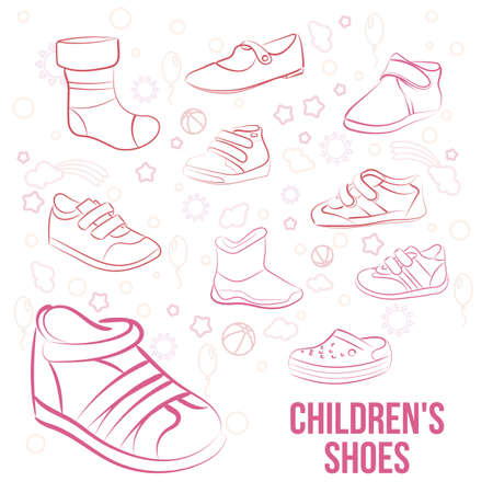 minimalist style: Vector Set of kids shoes painted lines in minimalist style