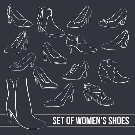 Situado en el centro de zapatos talones de las mujeres, líneas pintadas en estilo minimalista