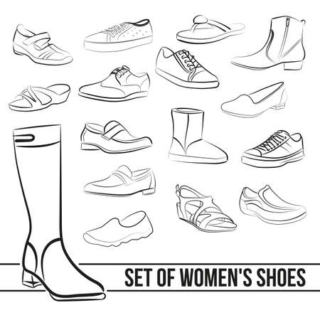 Set in the middle of women's shoes heels, painted lines in minimalist style