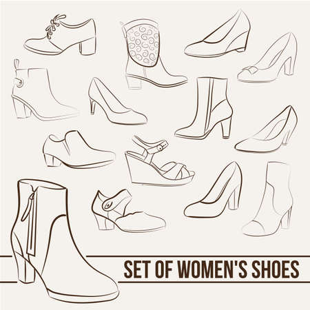 women in boots: Set in the of womens shoes, painted lines in minimalist style Illustration
