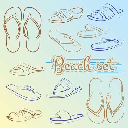 minimalist style: Vector set of slippers painted lines in minimalist style