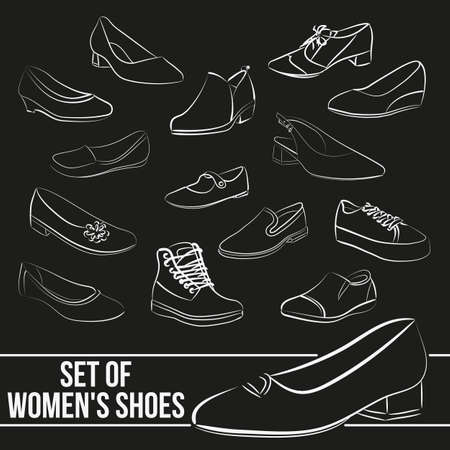 women's shoes: Set in the of womens shoes, painted lines in minimalist style Illustration