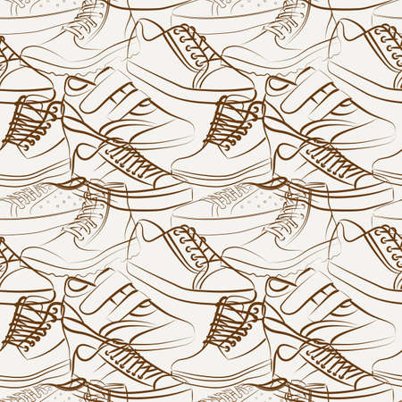 variety: Vector seamless pattern of variety of mens shoes Illustration