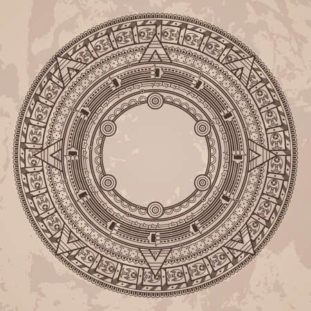 Vector circular pattern in the style of the Aztec calendar stone on a grunged background