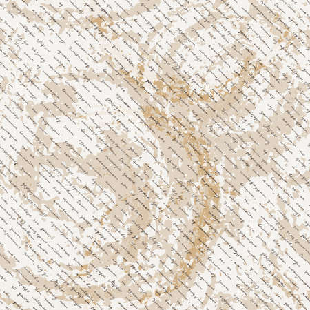 scribe: Vector seamless pattern with a hand-written Latin text on the old dirty paper. Lorem Ipsum