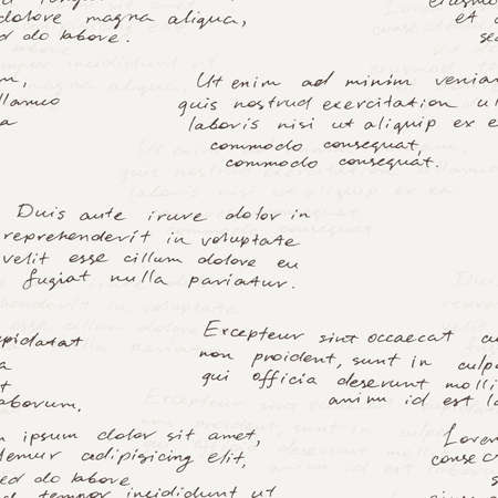 italics: Vector seamless pattern with a hand-written Latin text on the old dirty paper. Lorem Ipsum