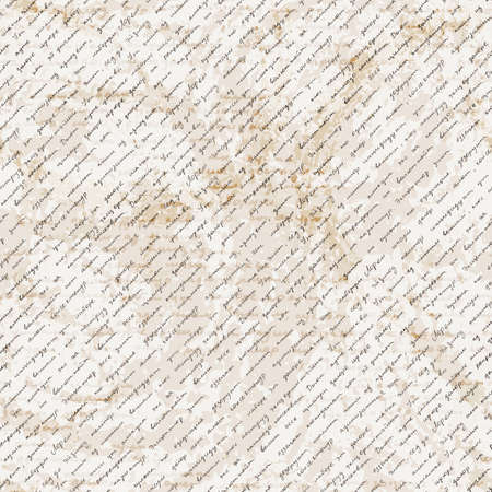 antiquarian: Vector seamless pattern with a hand-written Latin text on the old dirty paper. Lorem Ipsum