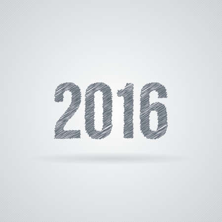 daubed: Vector sign for a new 2016 of the curves and crooked lines. Scribble
