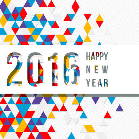 cut through: Vector label for the new 2016 to cut through paper background of colored triangles Illustration