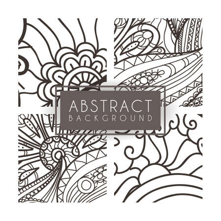 monochromatic: Set of four vector monochrome intricate patterns. Doodle. Zentangle. Monochromatic Illustration