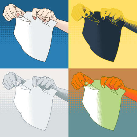tearing: Four vector illustration of female hands tearing paper