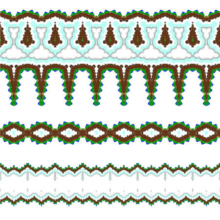 incrustation: Set of vector exquisite filigree borders or brush style mosaics and inlay